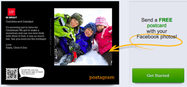 Send 2 Postcards with Facebook Photos