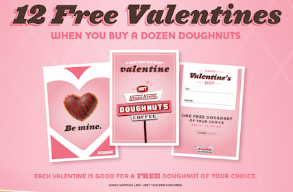 12 FREE Valentines from Krispy Kreme When You Purchase a Dozen Doughnuts
