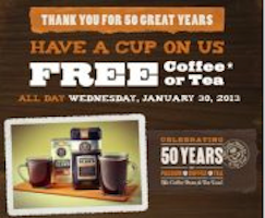 Coffee or Tea at The Coffee Bean & Tea Leaf on 1/30
