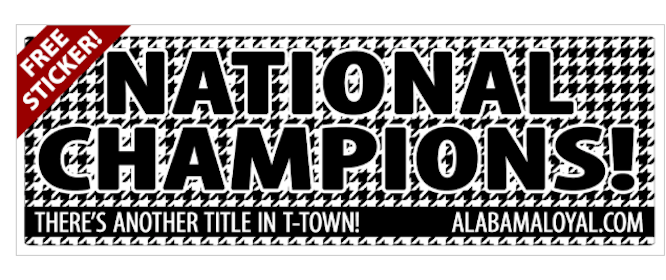 Alabama National Champions Sticker