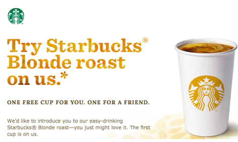 *HOT* Tall Cup of Blonde Roast Starbucks Coffee For You + a Friend