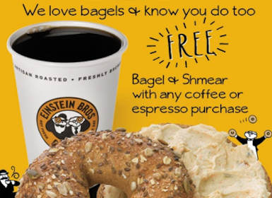 FREE Bagel & Shmear at Einstein Bros. Bagels w/ Coffee Purchase