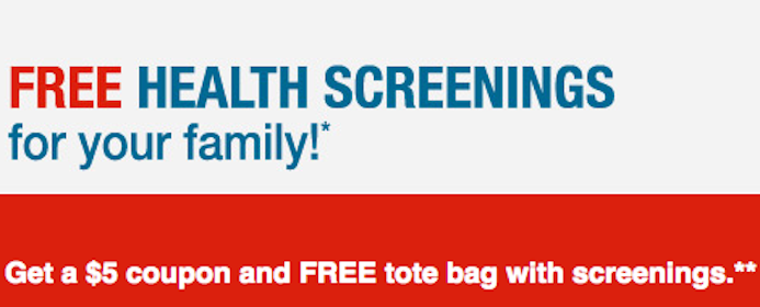 Health Screening, $5 Coupon and Tote Bag at CVS