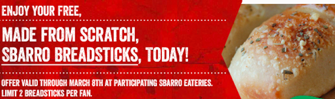 Breadsticks at Sbarro (Coupon)
