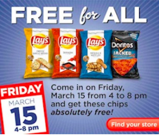 Lays or Doritos Chips at Kroger on 3/15