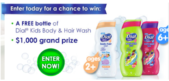 Win Coupon for FREE Bottle of Dial Kids Body & Hair Wash (250 Winners!)