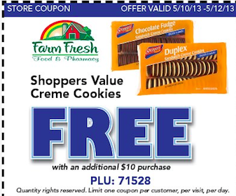 Cookies w/Purchase at Farm Fresh (Printable Coupon)