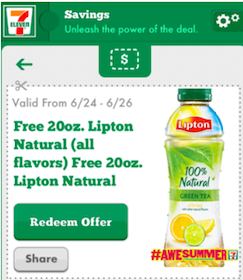 20 oz. Lipton Tea at 7-Eleven Through June 26th (Mobile App Users)