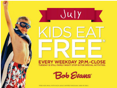 Kids Eat Free in July at Bob Evans (Weekdays Only 2 PM-Close)