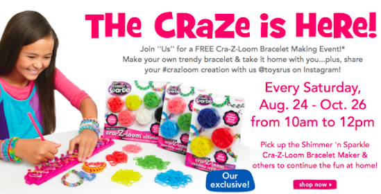 Toys r Us Bracelet Making Event from 10AM-12PM Every Saturday Thru October 26th