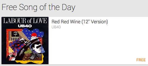 "MP3 Download: ""Red Red Wine""  by UB40 ($1.29 Value!) – Today Only"