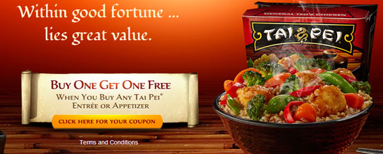 Free Tai Pei Asian-Style Foods Coupon