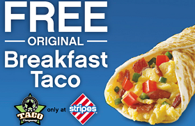 Free Original Breakfast Taco at Stripes Stores