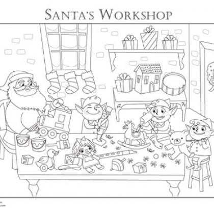 free santa workshop coloring pages - photo#4